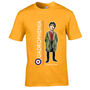 Bespoke Jimmy Quadrophenia Cartoon T-Shirt, from original artwork by Mark Reynolds .Available in a range of colours and sizes.