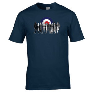 The Cast Of Quadrophenia T-Shirt from original pencil artwork by Mark Reynolds. Available in a range of colours and sizes.