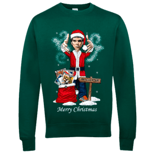 Ian Brown Christmas Jumper featuring artwork by Mark Reynolds. This Ian Brown Christmas Jumper is exclusive to Mr Art in a range of colours and sizes