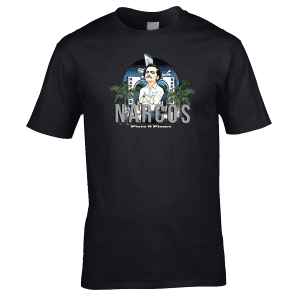 Narcos T-Shirt featuring the character who plays Pablo Escobar. This design has been drawn in pen and ink by artist Mark Reynolds.