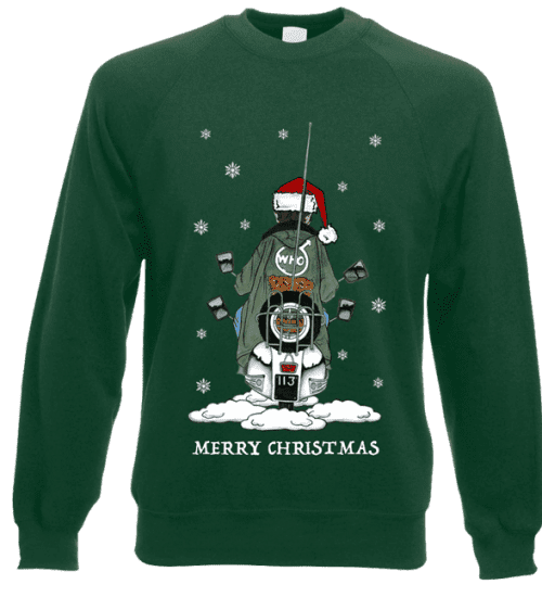 This Jimmy Quadrophenia Christmas Jumper has been designed by Mark Reynolds. It features Jimmy on his scooter from the original The Who Quadrophenia album cover