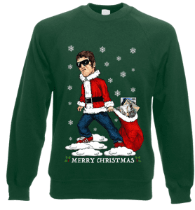 This Liam Gallagher Christmas Jumper has been designed by Mark Reynolds. It features Liam Gallagher dragging a christmas sack full of Oasis records.