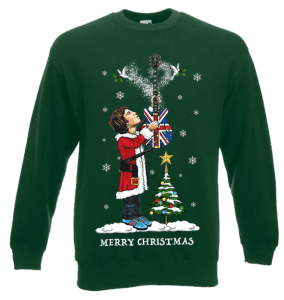 This Noel Gallagher Christmas Jumper has been designed by Mark Reynolds. It features Noel Gallagher holding his Union Jack guitar above his head releasing Christmas Spirit and two turtle doves (High Flying Birds).