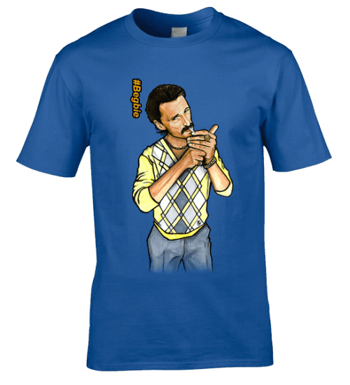 Bespoke Begbie T-Shirt inspired by the film Trainspotting and designed by artist Mark Reynolds. The T-Shirt features a hand drawn cartoon image of Begbie wearing a 80's Casual Pringle Jumper.