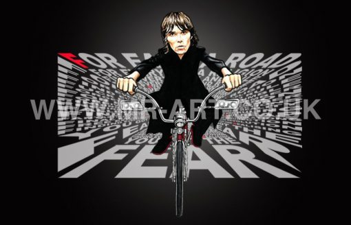 Ian Brown For Each A Road design featuring Ian Brown on a Lowrider and the lyrics from the song FEAR