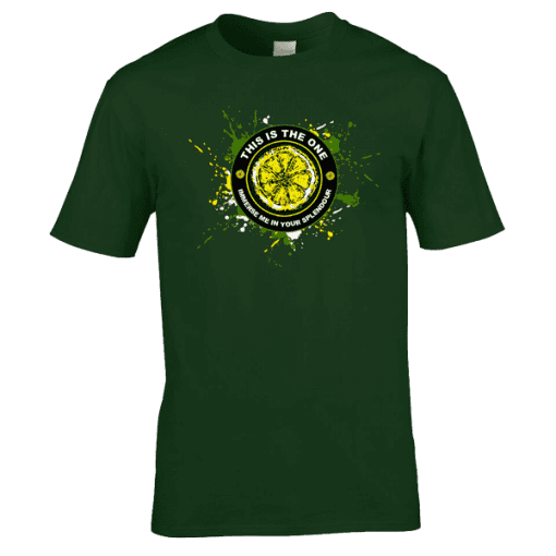 "The Stone Roses This Is The One T-Shirt has been designed by Mark Reynolds. It features Jackson Pollock style splatters, a lemon and the lyrics ""Immerse Me In Your Splendour"" from the song This Is The One."
