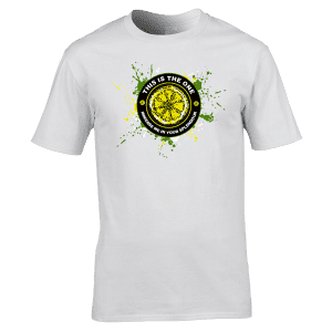 """The Stone Roses This Is The One T-Shirt has been designed by Mark Reynolds. It features Jackson Pollock style splatters, a lemon and the lyrics """"Immerse Me In Your Splendour"""" from the song This Is The One."""