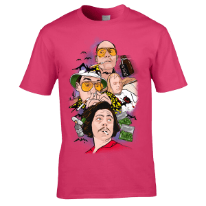 Fear and Loathing in Las Vegas T-Shirt featuring a collage of original drawings by Mark Reynolds. The T-Shirt features Dr Gonzo, Raoul Duke and a hitch hiker they pick up along with items from their drug collection.