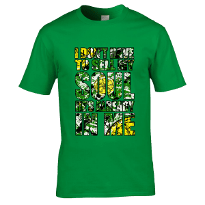"""This T-Shirt has been designed by Mark Reynolds. It features Jackson Pollock style splatters, a lemon and the lyrics """"I Don't Have To Sell My Soul He's Already In Me"""" from the song Adored by The Stone Roses"""