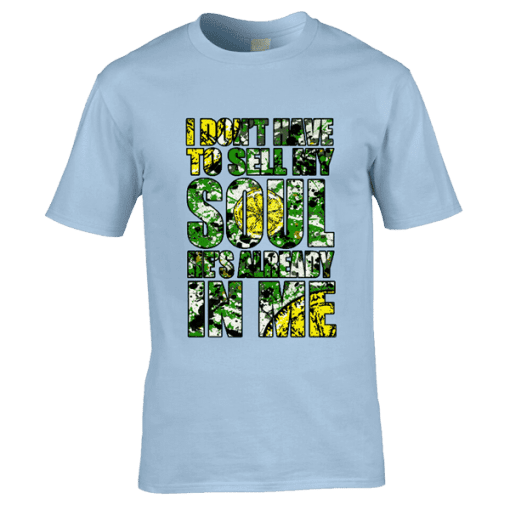 "This T-Shirt has been designed by Mark Reynolds. It features Jackson Pollock style splatters, a lemon and the lyrics ""I Don't Have To Sell My Soul He's Already In Me"" from the song Adored by The Stone Roses"