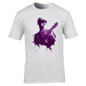 This John Squire T-Shirt has been designed by Mark Reynolds. It features a hand drawn image of John Squire playing the guitar in the band The Stone Roses.