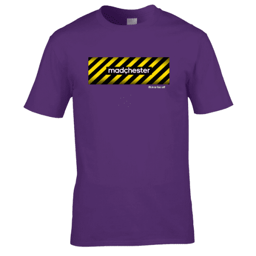 "Bespoke Manchester T-Shirt designed by artist Mark Reynolds. The T-Shirt features a hazard warning sign background with the words Madchester on. It also features the words ""Fit In Or Fac Off"" representing the Fac in Fac 51 The Haçienda. FAC 51 was its official designation in the Factory catalogue."