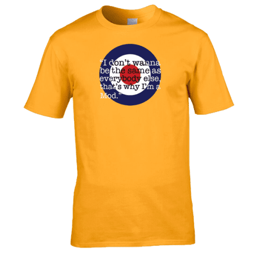 Bespoke That's Why I'm A Mod T-Shirt, from original artwork by Mark Reynolds. Available in a range of colours and sizes. Perfect to update your MOD look!