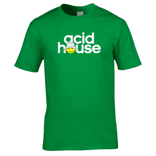 This Acid House T-Shirt has been designed by artist Mark Reynolds. The T-Shirt features a smiley acid face and the words Acid House