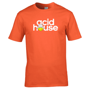 This Acid House T-Shirt has been designedby artist Mark Reynolds. The T-Shirt features a smiley acid face and the words Acid House