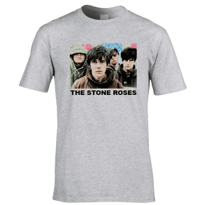 Exclusive The Stone Roses T-shirt Featuring Ian Brown, John Squire, Reni and Mani. Now available from Mr Art in a range of colours and sizes.