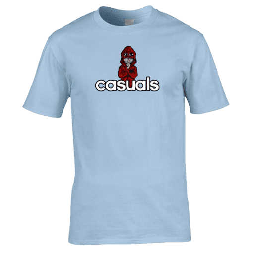 Casuals T-Shirt featuring hand drawn cartoon image of a casual wearing his designer C.P Company jacket. Available in a wide range of colours and sizes