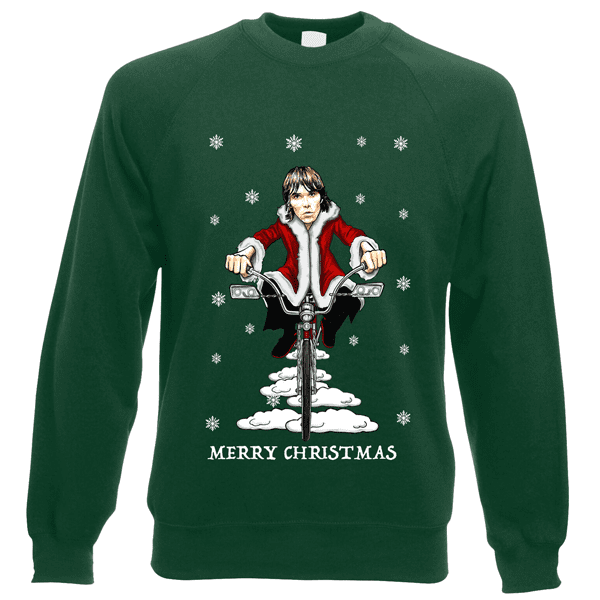 Ian-Brown-Low-Rider-Christmas-Jumper-in-Bottle-Green
