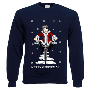 This Ian Brown Christmas jumper has been designed by Mark Reynolds. It features Ian Brown on a low rider bike riding through the snow wearing a santa outfit.