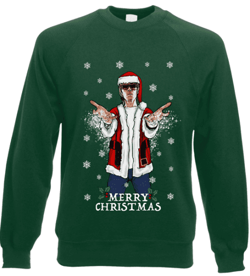 This Ian Brown Christmas jumper (sweatshirt) is available in a wide range of colours and sizes. It is exclusive to Mr Art and can only be purchased from this website.