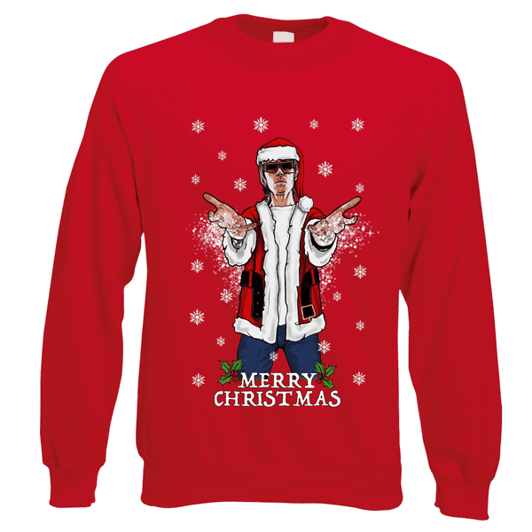 Ian-Brown-Godlike-Christmas-Jumper-in-Red