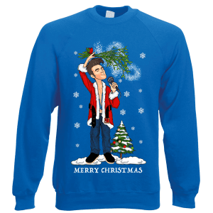 is Morrissey Christmas Jumper has been designed by Mark Reynolds. It features Morrissey wearing a Santa Jacket and holding mistletoe over his head.