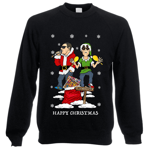 Happy-Mondays-Christmas-Jumper-in-Blackl