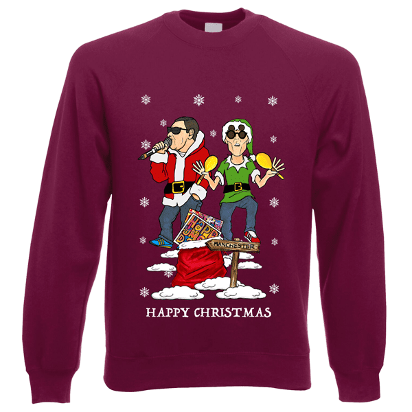 Happy-Mondays-Christmas-Jumper-in-Burgundy