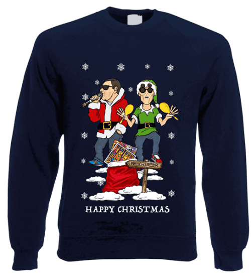 This Happy Mondays Christmas Jumper has been designed by Mark Reynolds. It features Shaun Ryder wearing a Santa Jacket and Bez wearing an Elf Outfit