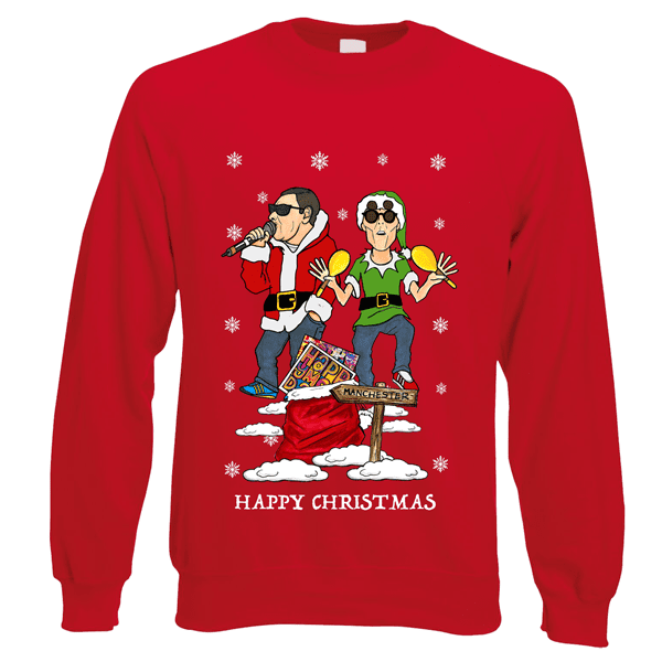 Happy-Mondays-Christmas-Jumper-in-Red