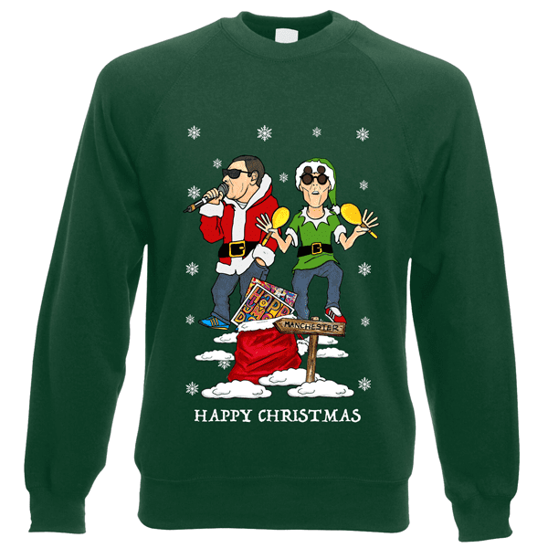 Happy-Mondays-Christmas-Jumper-in-bottle-green