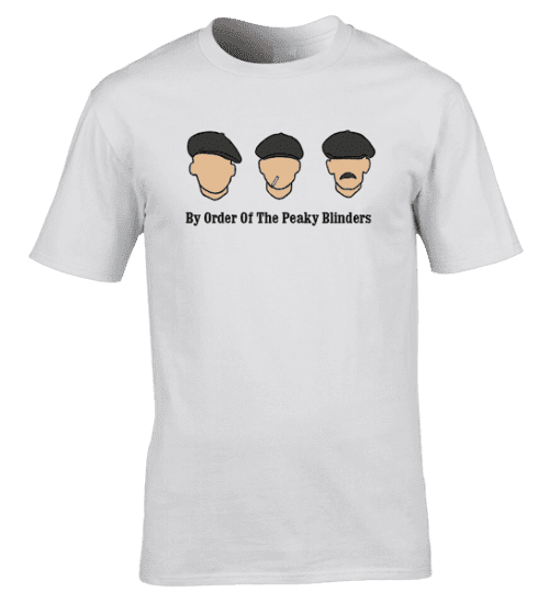"Peaky Blinders T-Shirt featuring hand drawn illustrations of John,Thomas and Arthur Shelby. It also features the quote ""By Order Of The Peaky Blinders"""