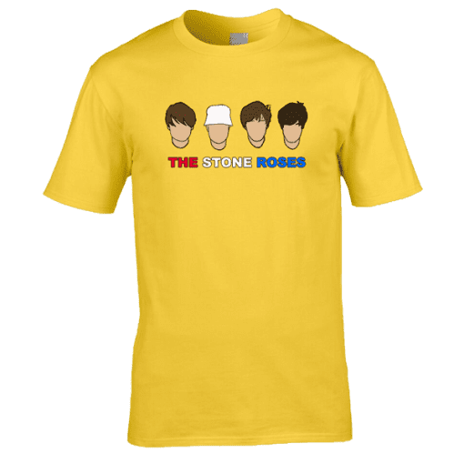 Exclusive The Stone Roses T-Shirt drawn in pen and ink by Mark Reynolds. Now available from Mr Art in a range of colours and sizes.