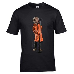 This Liam Gallagher cartoon T-Shirt has been drawn by Mark Reynolds. It features Liam Gallagher performing at the One Love concert. It is available in a wide range of colours and sizes.