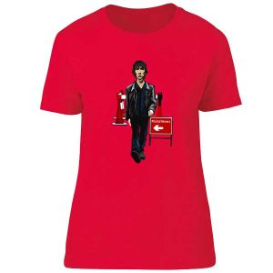 This The Verve Bitter Sweet T-shirt has been drawn by Mark Reynolds. It features Richard Ashcroft walking down the road taken from the video Bitter Sweet Symphony
