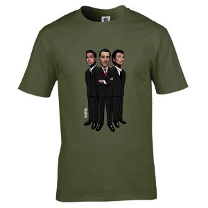 This Goodfellas cartoon T-Shirt has been drawn by Mark Reynolds. It features Henry Hill (Ray Liotta), James Conway ( Robert De Niro) and Tommy DeVito (Joe Pesci ). It is available in a wide range of colours and sizes.
