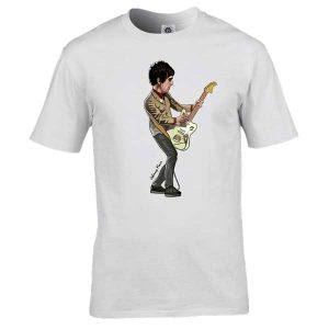 This Johnny Marr cartoon T-Shirt has been drawn by Mark Reynolds. It features Johnny Marr on guitar. It is available in a wide range of colours and sizes.