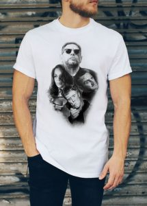 ThisHappy Mondays Montage T-Shirt has been drawn by Mark Reynolds in pencil. It features a montage of Happy Mondays images.