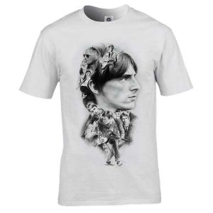 This Paul Weller montage T-Shirt has been drawn by Mark Reynolds. It features a montage of classic Paul Weller images. Available in a range of sizes.