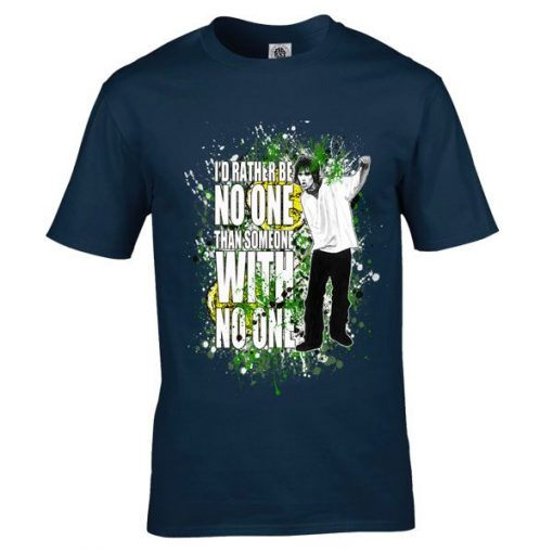 "The Stone Roses Here It Comes T-Shirt has been drawn by Mark Reynolds and features the lyrics ""I'd rather be no one than someone with no one"""