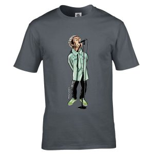 This Liam Gallagher special cartoon T-Shirt has been drawn by Mark Reynolds. It features Liam Gallagher wearing an Adidas Spezial jacket and Adidas Spezial trainers. It is available in a wide range of colours and sizes.