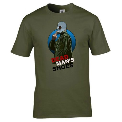 Dead Mans ShoesT-Shirt has been drawn by Mark Reynolds. It is available in a range of colours ans sizes and is exclusive to MR ART.
