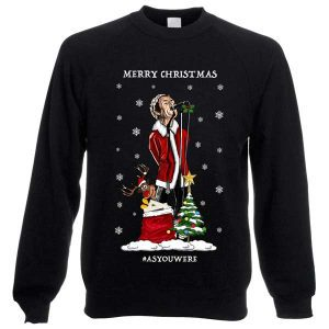 ThisLiam Gallagher As You Were Christmas Jumper has been designed by Mark Reynolds. It features LiamGallagher singing and a sack full of Liam Gallagher records.
