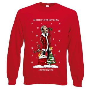 This Liam Gallagher As You Were Christmas Jumper has been designed by Mark Reynolds. It features Liam Gallagher singing and a sack full of Liam Gallagher records.