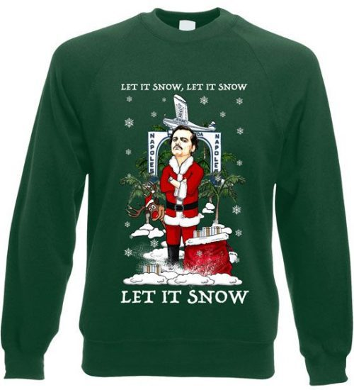 This Let It Snow Narcos/Pablo Escobar Christmas Jumper has been designed by Mark Reynolds. It features Pablo Escobar and is available in a range of colours