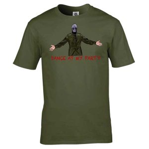 Dead Man's Shoes Dance At My Party T-Shirt has been drawn by Mark Reynolds. It is available in a range of colours ans sizes and is exclusive to MR ART.