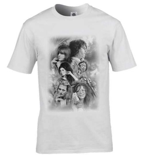 This exclusive 27 Club T-Shirt has originally been drawn in pencil by artist Mark Reynolds. It features Jim Morrison, Brian Jones, Amy Winehouse, Kurt Cobain, Jimi Hendrix and Janice Joplin.