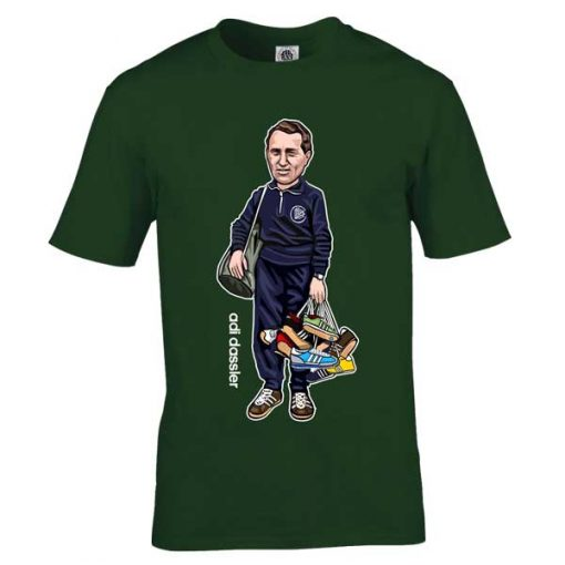 This Adi Dassler cartoon T-Shirt has been drawn by Mark Reynolds. It features Adi Dassler holding numerous Adidas trainers