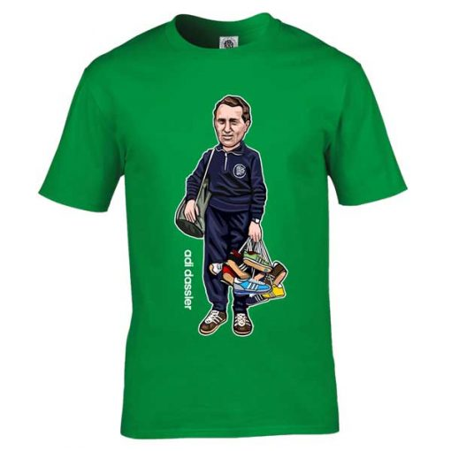 ThisAdi Dassler cartoon T-Shirt has been drawn by Mark Reynolds. It features Adi Dassler holding numerous Adidas trainers