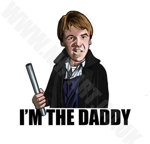 "This ""I'm The Daddy"" T-Shirt has been drawn by Mark Reynolds. It features a cartoon version of Carlin from the 1979 film Scum."